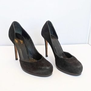Theory Black Suede Leather Platform Pumps 6.5